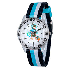 Disney Boys Blue and Silver Tone Striped Miles From Tomorrowland Time Teacher Strap Watch W003048