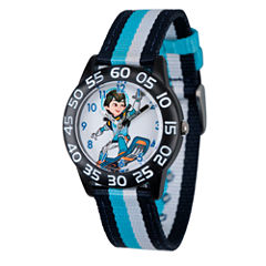 Disney Boys Blue and Black Striped Miles From Tomorrowland Time Teacher Strap Watch W003059