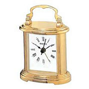 Seiko® Carriage Desk And Table Clock With Metal Handle And Alarm Gold Tone Qhe109glh