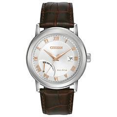 Citizen® Eco-Drive Mens Stainless Steel Watch With Brown Leather Strap Aw7020-00A