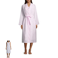 Adonna Seersucker Long Sleeve Nightgown + Robe Set