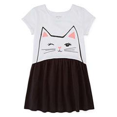 Okie Dokie Short Sleeve Babydoll Dress - Preschool Girls