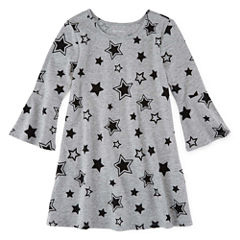 Okie Dokie Short Sleeve Star A-Line Dress - Preschool Girls