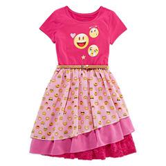 ShopkinsShort Sleeve Emoji Faces Dress- Big Kid Girls