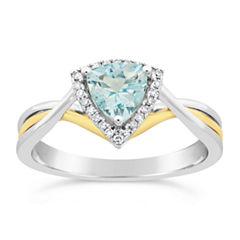 Womens 1/10 CT. T.W. Blue Aquamarine 10K Gold Crossover Ring