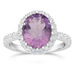 Womens Purple Amethyst 10K Sterling Silver Bypass Ring