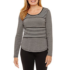 Silverwear Long Sleeve Crew Neck T-Shirt-Womens Petites