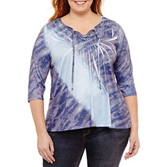 Unity World Wear 3/4 Sleeve Scoop Neck T-Shirt-Plus