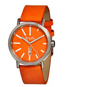 Simplify Unisex The 400 Orange Leather-Band Watch With Day&Date Sim0407