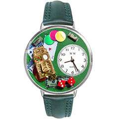 Whimsical Watches Personalized Casino Womens Silver–Tone Bezel Green Leather Strap Watch