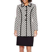 Isabella Long-Sleeve Diamond Jacket and Solid Skirt Suit Set