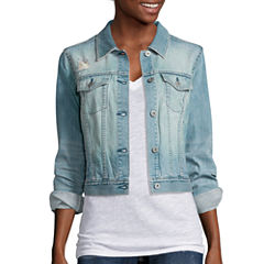 Arizona Destructed Denim Jacket - Juniors