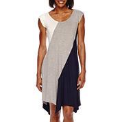 Perceptions Sleeveless Knit Colorblock Trapeze Dress