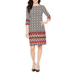 London Style 3/4 Sleeve Pattern Shift Dress