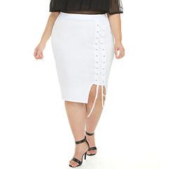 Fashion To Figure Jordanne Lace Up Pencil Skirt-Plus
