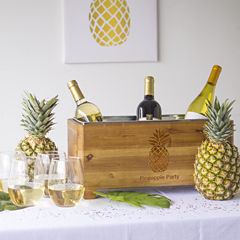 Cathy's Concepts Personalized Pineapple Wooden Wine Trough