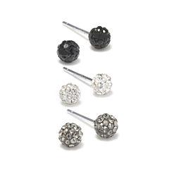 Silver Treasures Multi Color Crystal Stud Earrings