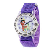 Disney Princess Girls Purple and Silver Tone Tiana Time Teacher Strap Watch W002977