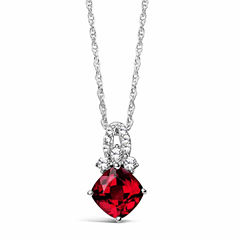 Womens Lab Created Ruby Sterling Silver Pendant Necklace