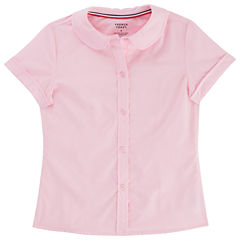 French Toast Short Sleeve Button-Front Shirt Girls