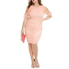 Fashion To Figure Kelsey Cold Shoulder Lace Bodycon Dress-Plus