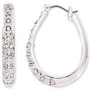 Liz Claiborne® Silver-Tone & Crystal Hoop Earrings