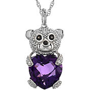 Heart-Shaped Lab-Created Amethyst Teddy Bear Pendant Necklace