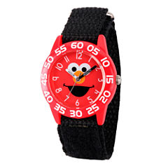 Sesame Street Boys Black And Red Elmo Time Teacher Strap Watch W003144