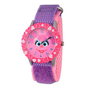 Sesame Street Purple And Pink Abby Cadabby Time Teacher Strap Watch W003168