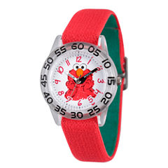 Sesame Street Boys Red And White Elmo Time Teacher Strap Watch W003197