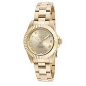 Invicta® Womens Gold Tone Gold Dial Stainless Steel Pro Diver Bracelet Watch 16762