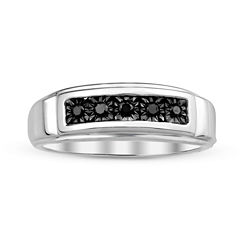 Mens Color-Enhanced Black Diamond Accent Sterling Silver Ring