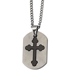 Mens Stainless Steel Budded Cross Pendant