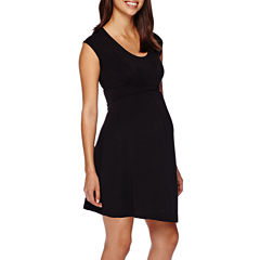 Maternity Cap-Sleeve Twist-Front Dress-Plus