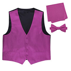 Metallic Grid Vest, Bow Tie & Pocket Square Set
