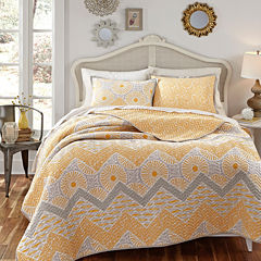 KD Spain Sunnyside Reversible Chevron Quilt Set
