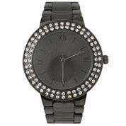 Olivia Pratt Womens Rhinestone Accent Gunmetal-Tone Bracelet Watch 14066