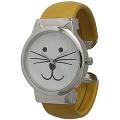 Olivia Pratt Womens Tomcat Dial Mustard Leather Cuff Watch 13895