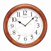 Seiko® Dark Brown Solid Oak Decorative Wall Clock Qxa129Blh