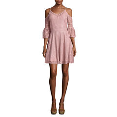 City Triangle 3/4 Sleeve A-Line Dress-Juniors
