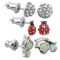 3 Pair White Opal Sterling Silver Earring Sets