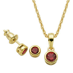 Girls 2-pc. Red Ruby 18K Gold Over Silver Jewelry Set