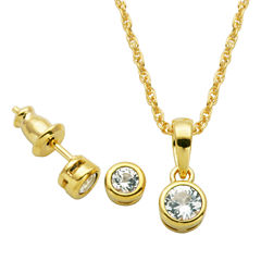 Girls 2-pc. White Sapphire 18K Gold Over Silver Jewelry Set