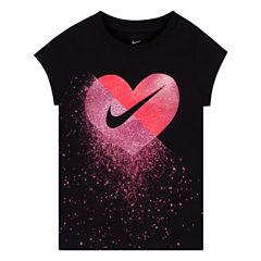 Nike Short Sleeve Crew Neck T-Shirt-Preschool Girls