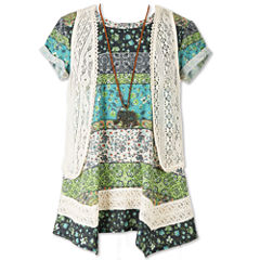 Speechless Short Sleeve Layered Top - Big Kid Girls