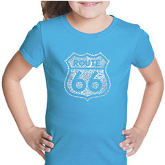 Los Angeles Pop Art Get Your Kicks On Route 66 Short Sleeve Graphic T-Shirt Girls