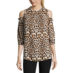 Worthington 3/4 Sleeve Crew Neck Georgette Blouse