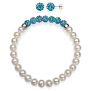 6-7Mm Cultured Freshwater Pearl And 6Mm Turquoise Lab Created Crystal Bead Sterling Silver Earring And Bracelet Set