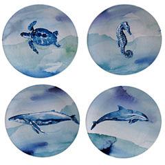 Certified International Sea Life Set Of 4 Dessert Plates