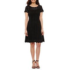 Ronni Nicole Short Sleeve A-Line Dress-Petites